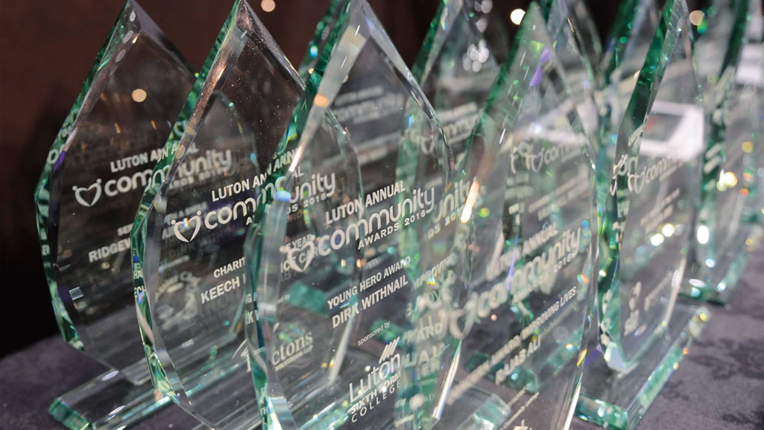 image of glass trophies from last years community awards