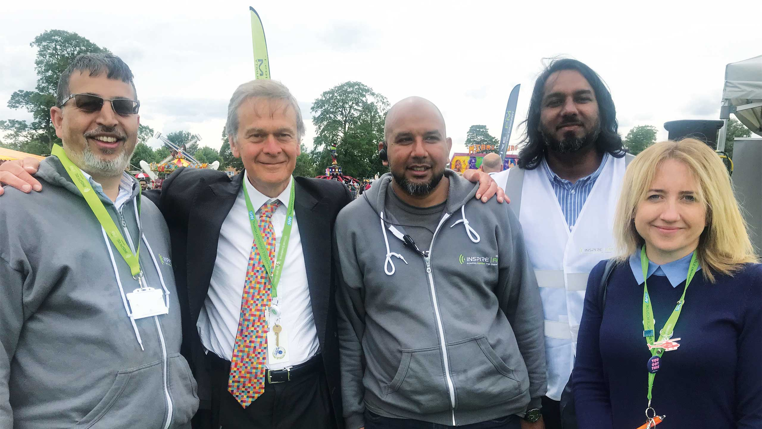 Tariq and members of the Inspire Eid organising committee along with Simon Linnett and Sarah Amexheta, from the Luton & Dunstable Hospital Helipad Appeal.
