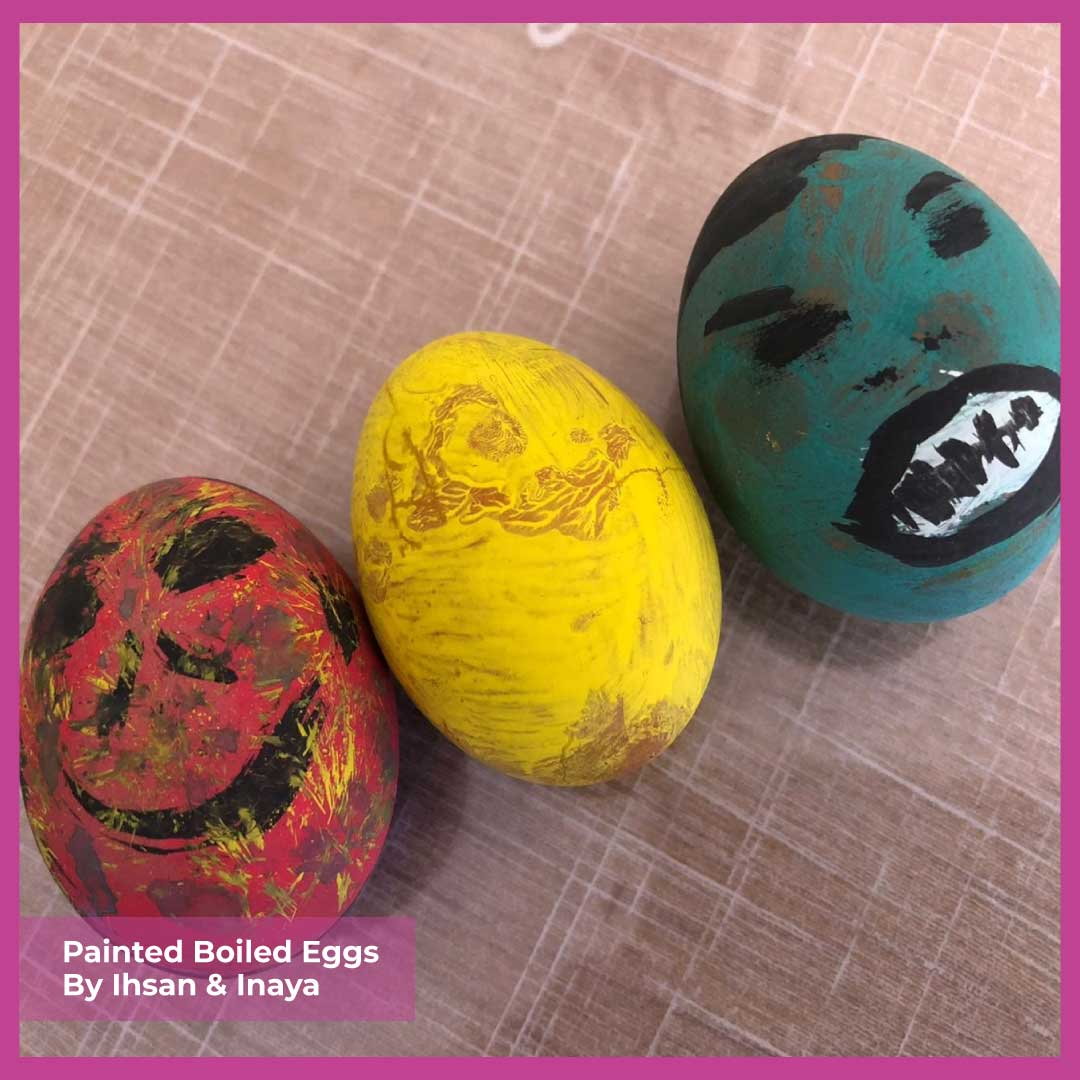 3 painted eggs