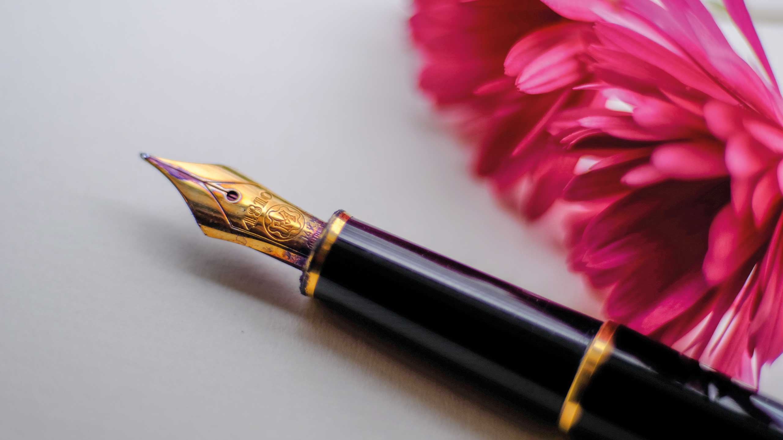 fountain pen next to flower