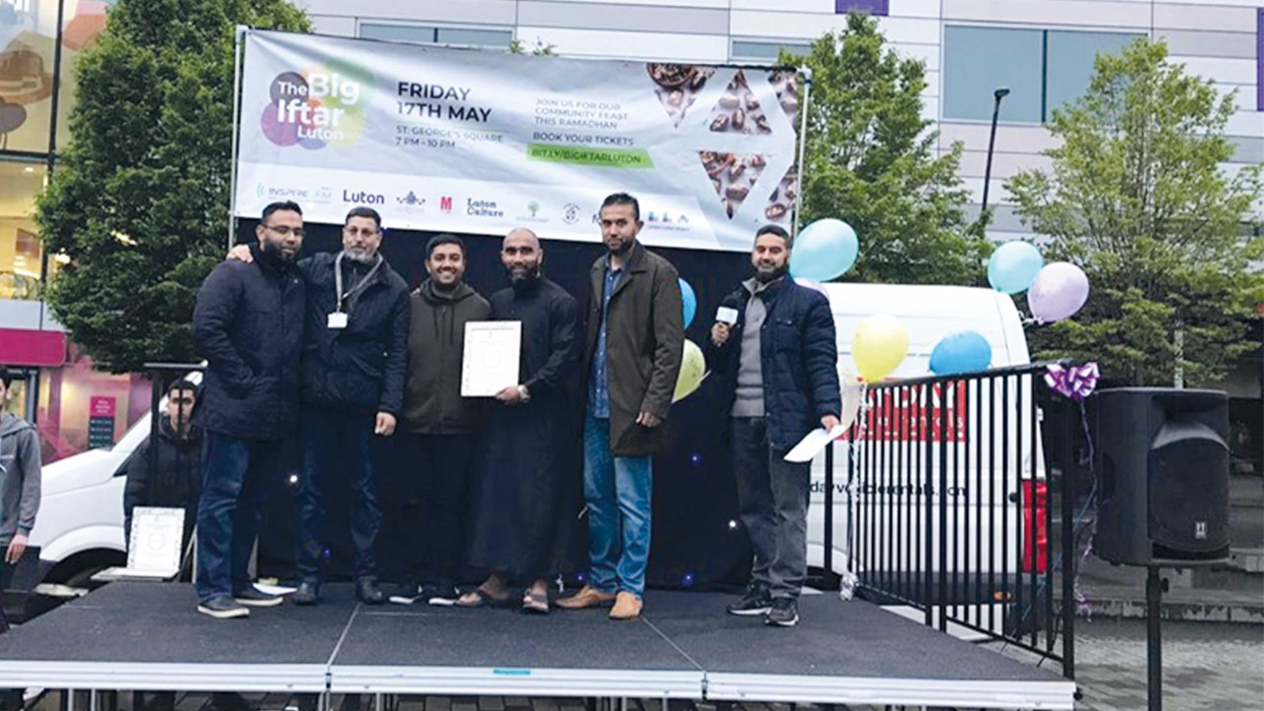 Team Luton being presented Making An Impact Award for the fundraising they did leading up to their Marathon run