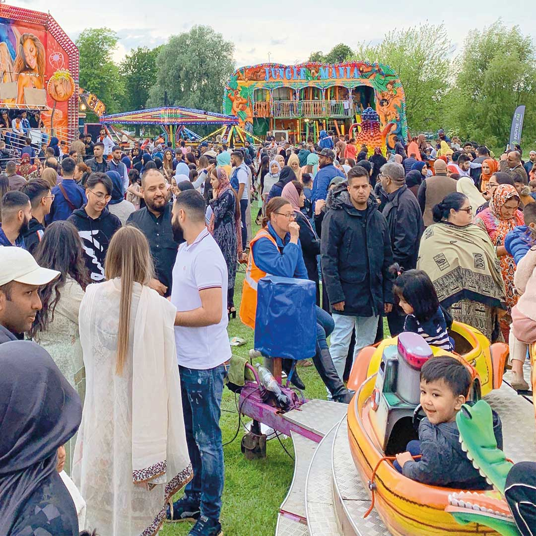 attendees at the Inspire Eid event funfair